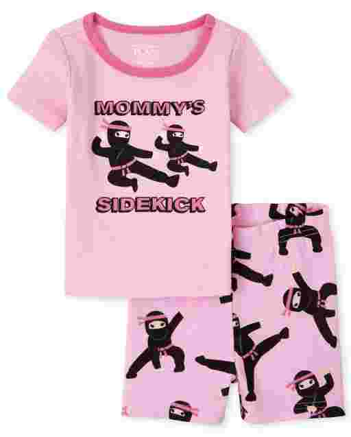 Baby And Toddler Girls Short Sleeve 'Mommy's Sidekick' Ninja Snug Fit Cotton Pajamas