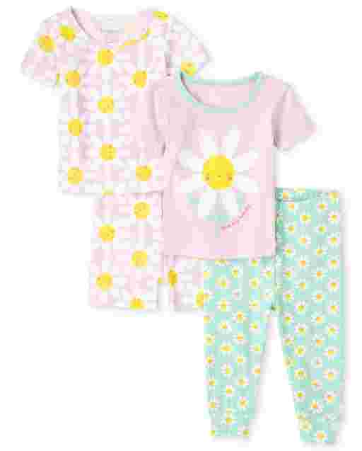 Baby And Toddler Girls Short Sleeve Daisy Snug Fit Cotton 4-Piece Pajamas