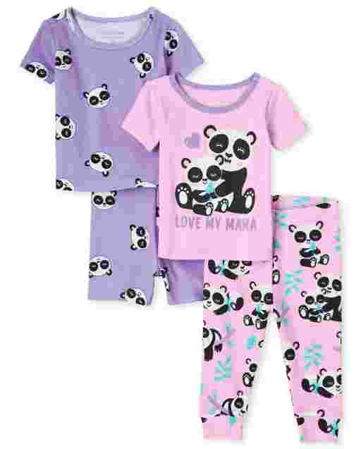 Baby And Toddler Girls Short Sleeve Panda Snug Fit Cotton 4-Piece Pajamas