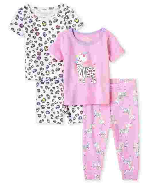 Baby And Toddler Girls Short Sleeve Zebra Snug Fit Cotton 4-Piece Pajamas
