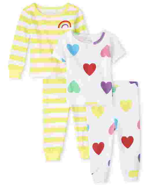 Baby And Toddler Girls Long And Short Sleeve Rainbow Heart Snug Fit Cotton Pajamas 2-Pack