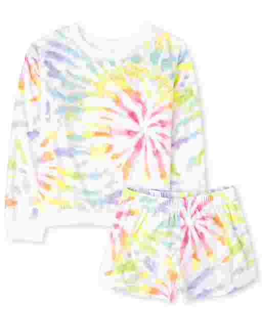 Girls Mommy And Me Long Sleeve Tie Dye Matching Velour Pajamas