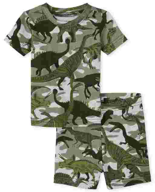 Baby And Toddler Boys Short Sleeve Dino Camo Snug Fit Cotton Pajamas
