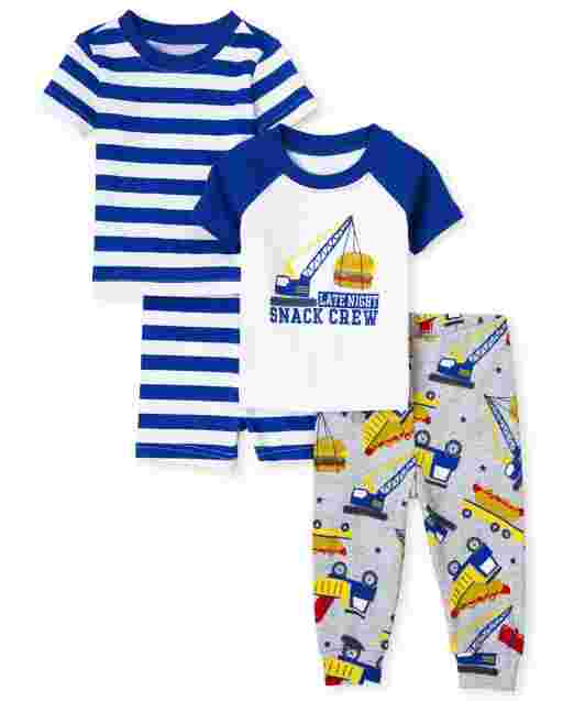 Baby And Toddler Boys Short Sleeve 'Snack Crew' Striped Snug Fit Cotton 4-Piece Pajamas