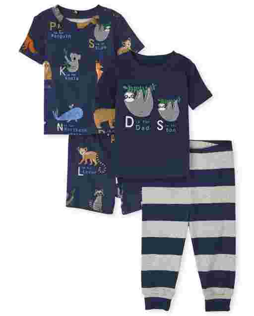 Baby And Toddler Boys Short Sleeve ABC Sloth Snug Fit Cotton 4-Piece Pajamas
