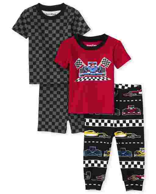 Baby And Toddler Boys Short Sleeve Race Car Snug Fit Cotton 4-Piece Pajamas