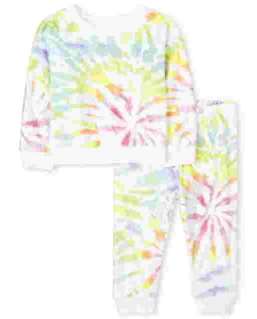 Baby And Toddler Girls Mommy And Me Long Sleeve Tie Dye Matching Velour Pajamas
