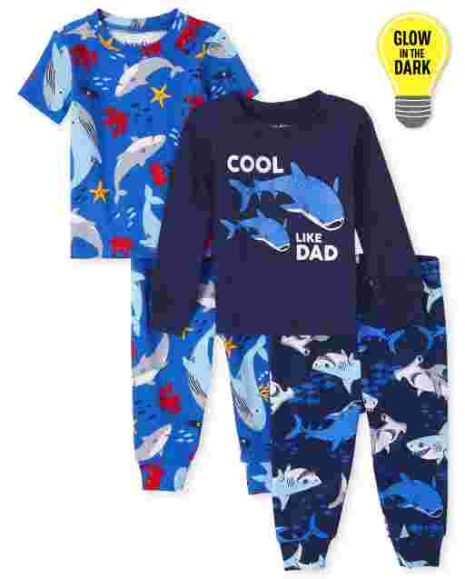 Baby And Toddler Boys Long And Short Sleeve Glow In The Dark Shark Snug Fit Cotton 4-Piece Pajamas