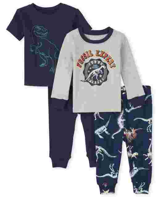 Baby And Toddler Boys Long And Short Sleeve Dino Snug Fit Cotton 4-Piece Pajamas