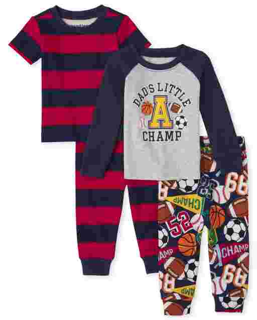 Baby And Toddler Boys Long And Short Sleeve Sports Snug Fit Cotton 4-Piece Pajamas