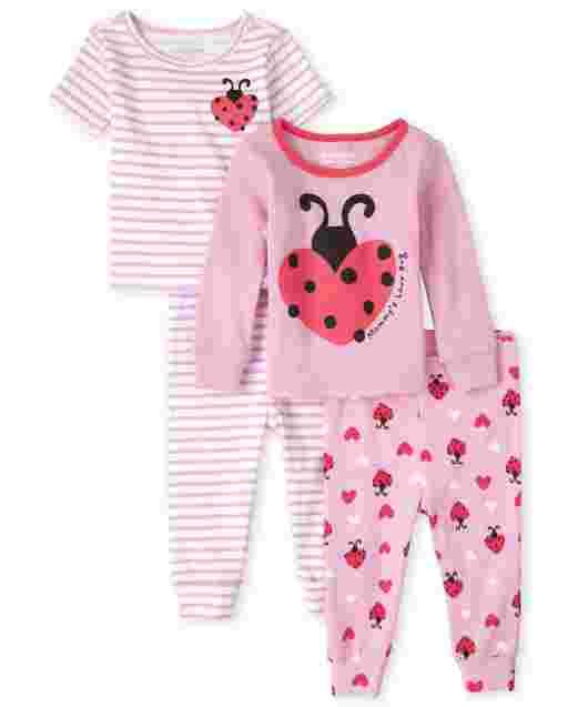 Baby And Toddler Girls Long And Short Sleeve Lady Bug Snug Fit Cotton 4-Piece Pajamas