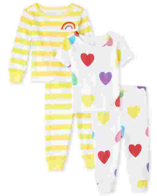Baby And Toddler Girls Long And Short Sleeve Rainbow Heart Snug Fit Cotton 4-Piece Pajamas