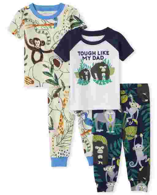 Baby And Toddler Boys Short Sleeve Animals Snug Fit Cotton 4-Piece Pajamas