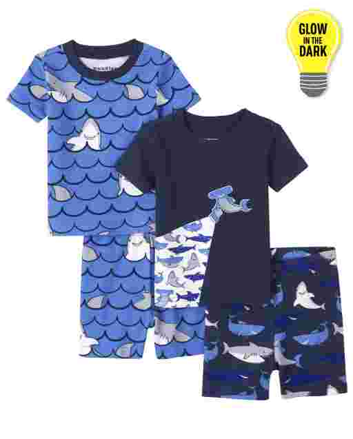 Baby And Toddler Boys Short Sleeve Glow In The Dark Shark Snug Fit Cotton Pajamas 2-Pack