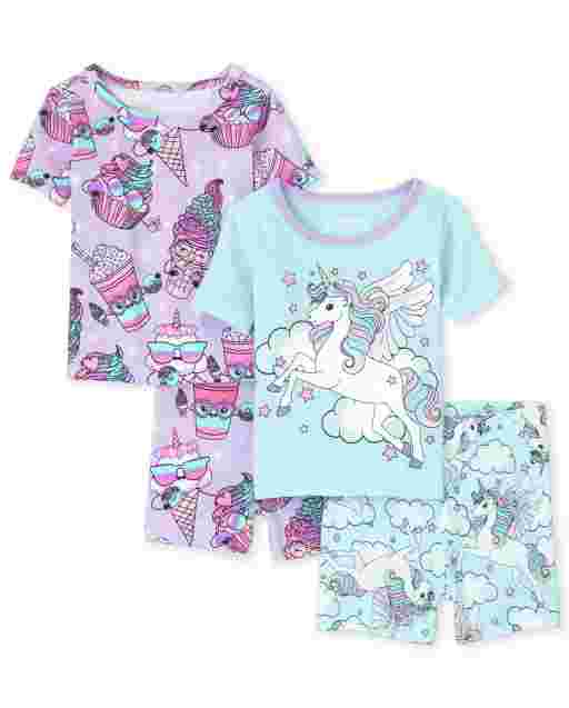 Baby And Toddler Girls Short Sleeve Unicorn And Dessert Squishies Snug Fit Cotton 4-Piece Pajamas