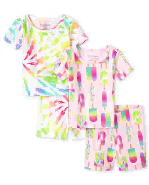 Baby And Toddler Girls Short Sleeve Tie Dye Snug Fit Cotton 4-Piece Pajamas