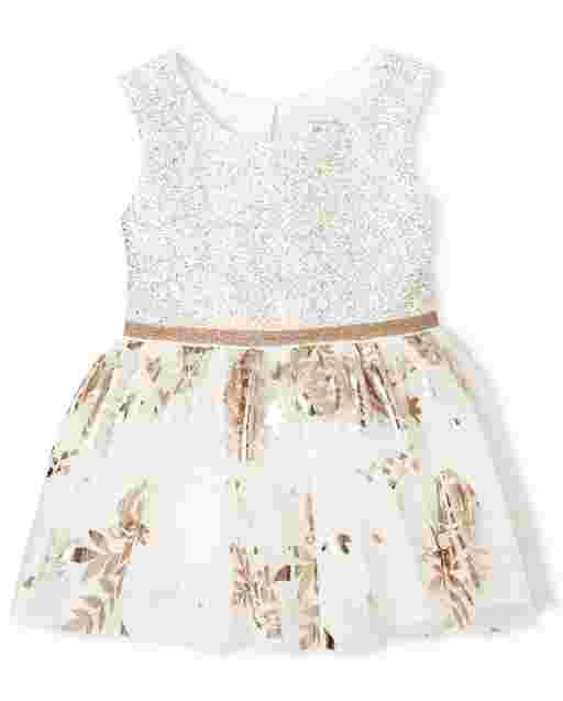 Baby Girls Easter Sleeveless Foil Rose Gold Print Knit To Woven Bodysuit Dress