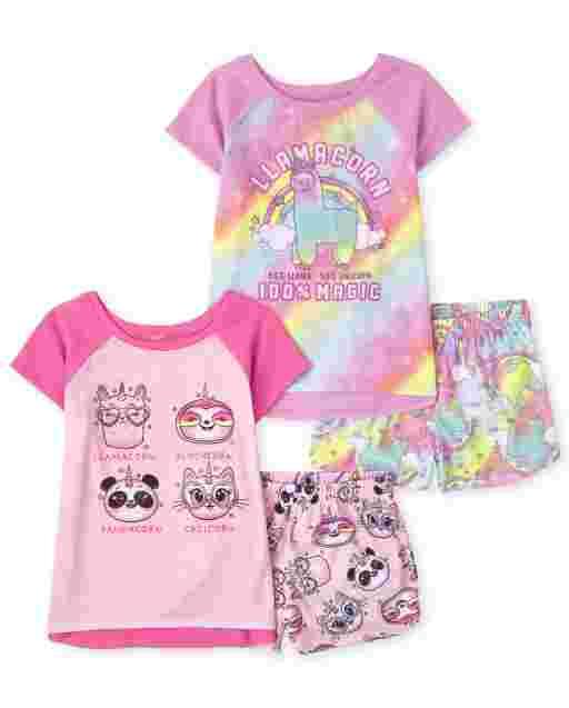 Pijama de 4 piezas con animales unicornio para niñas