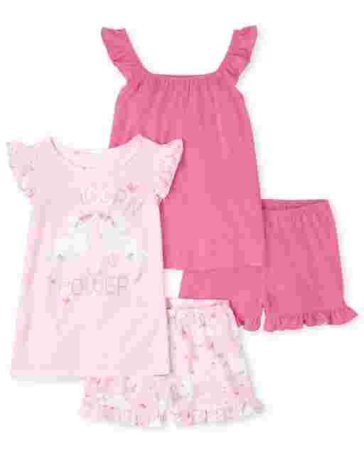 Girls Short Ruffle Sleeve 'Unicorn Power' Pajamas 2-Pack