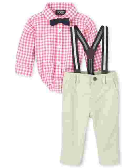 Baby Boys Long Sleeve Gingham Poplin Button Down Bodysuit Woven Chino Pants Bow Tie And Suspenders Outfit Set