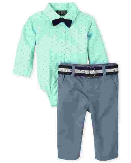 Baby Boys Long Sleeve Dot Print Poplin Button Down Bodysuit Woven Belted Chino Pants And Bow Tie Outfit Set