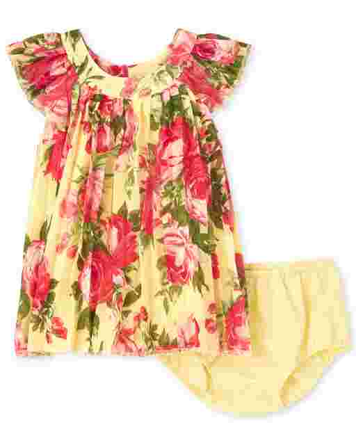 Baby Girls Short Ruffle Sleeve Floral Print Woven Pleated Dress And Bloomers Set