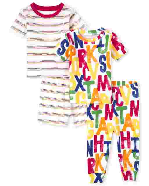 Unisex Baby And Toddler Short Sleeve ABC Snug Fit Cotton 4-Piece Pajamas