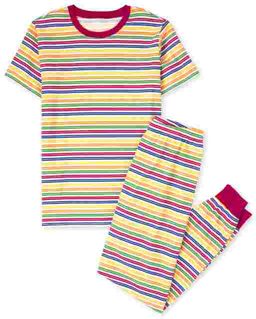 Unisex Adult Matching Family Short Sleeve Striped Matching Cotton Pajamas