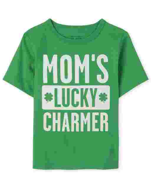 Baby And Toddler Boys St. Patrick's Day Short Sleeve 'Mom's Lucky Charmer' Graphic Tee