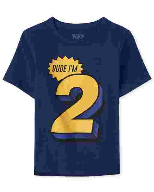 Baby And Toddler Boys Birthday Short Sleeve 'Dude I'm 2' Graphic Tee
