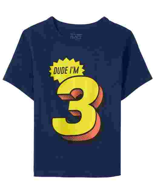 Baby And Toddler Boys Birthday Short Sleeve 'Dude I'm 3' Graphic Tee