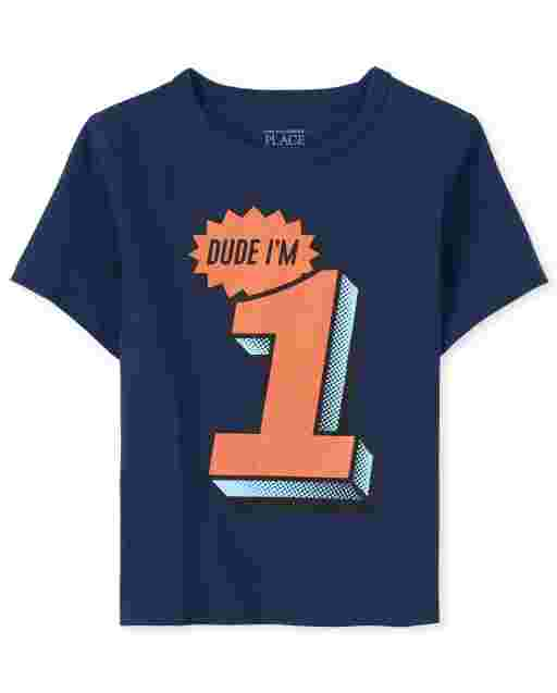 Baby And Toddler Boys Birthday Short Sleeve 'Dude I'm 1' Graphic Tee