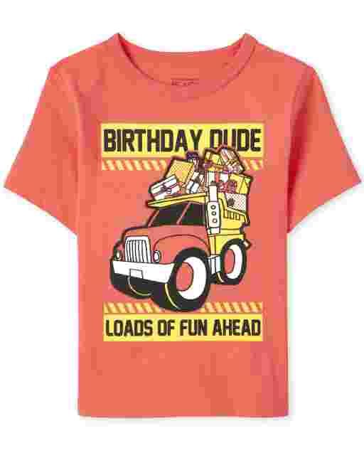 Baby And Toddler Boys Birthday Short Sleeve 'Birthday Dude Loads Of Fun Ahead' Construction Graphic Tee