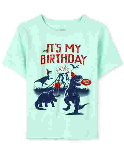 Baby And Toddler Boys Birthday Short Sleeve 'It's My Birthday' Dino Graphic Tee