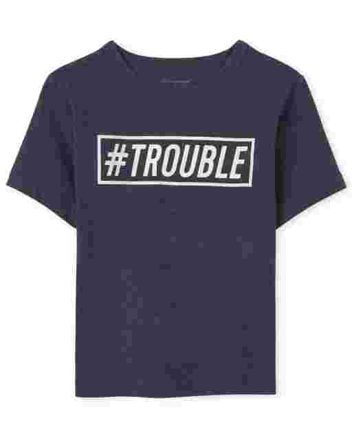 Baby And Toddler Boys Dad And Me Short Sleeve 'Hashtag Trouble' Graphic Tee