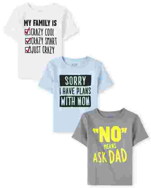 Baby And Toddler Boys Short Sleeve Family Graphic Tee 3-Pack