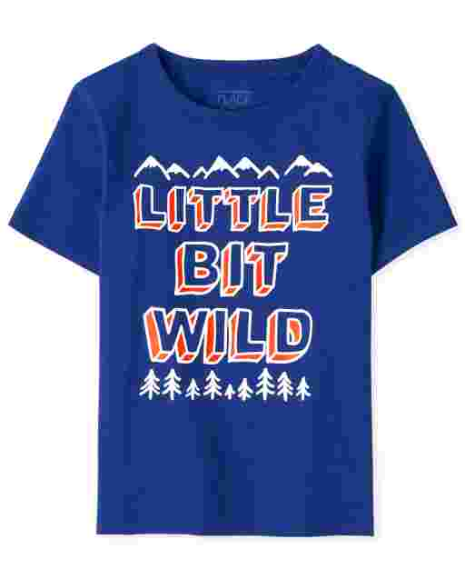 Baby And Toddler Boys Short Sleeve 'Little Bit Wild' Graphic Tee