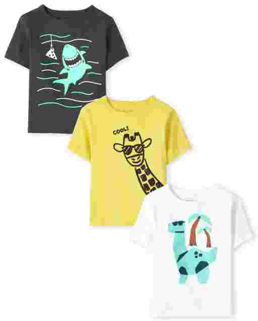 Baby And Toddler Boys Short Sleeve Animal Graphic Tee 3-Pack