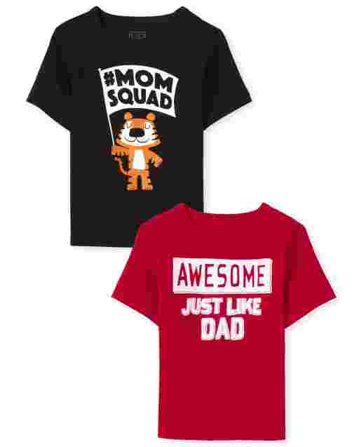 Baby And Toddler Boys Short Sleeve Mom And Dad Graphic Tee 2-Pack