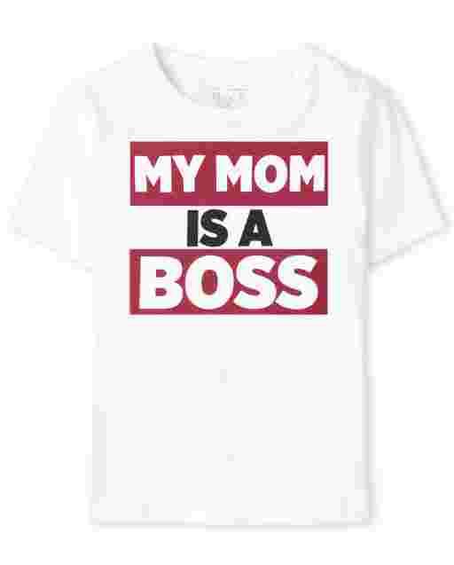 ' My Mom Is A Boss ' Graphic de manga corta para bebés y niños pequeños