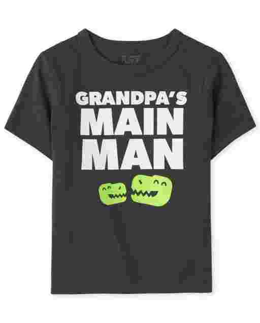 Baby And Toddler Boys Short Sleeve 'Grandpa's Main Man' Dino Graphic Tee