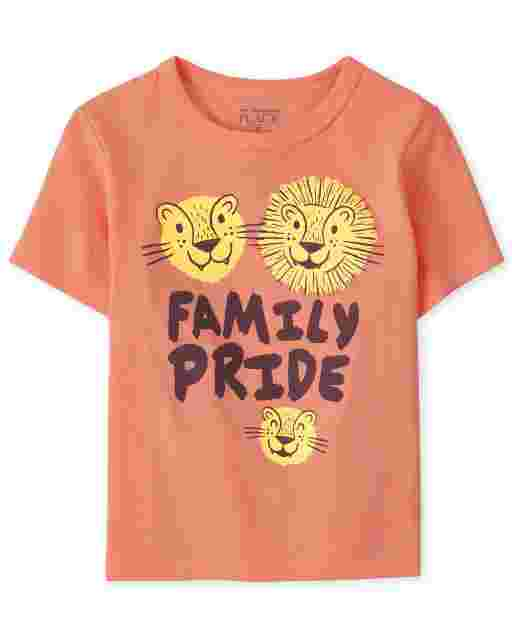 Baby And Toddler Boys Short Sleeve 'Family Pride' Lion Graphic Tee