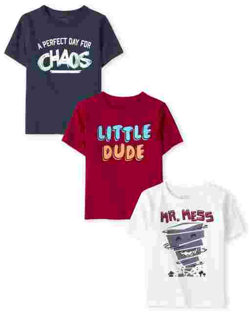 Baby And Toddler Boys Short Sleeve Humor Graphic Tee 3-Pack