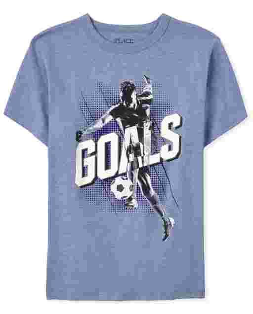 Boys Short Sleeve 'Goals' Soccer Graphic Tee