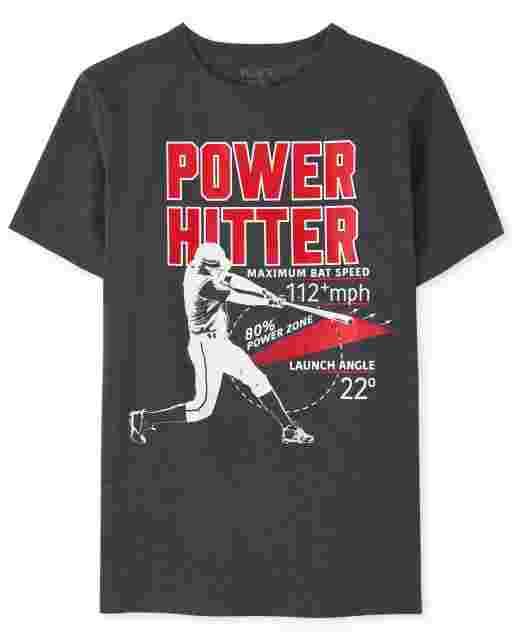 Boys Short Sleeve 'Power Hitter' Baseball Graphic Tee