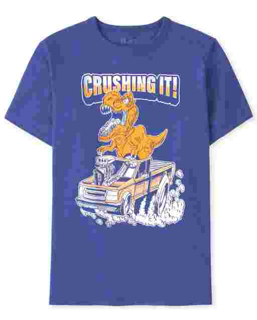 Boys Short Sleeve 'Crushing It!' Dino Graphic Tee
