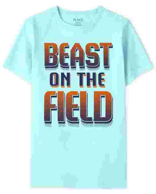 Boys Short Sleeve 'Beast On The Field' Graphic Tee