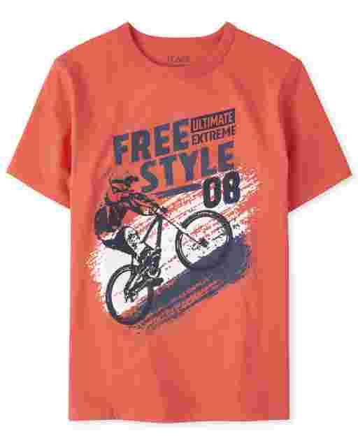 Boys Short Sleeve 'Free Style' Bike Graphic Tee
