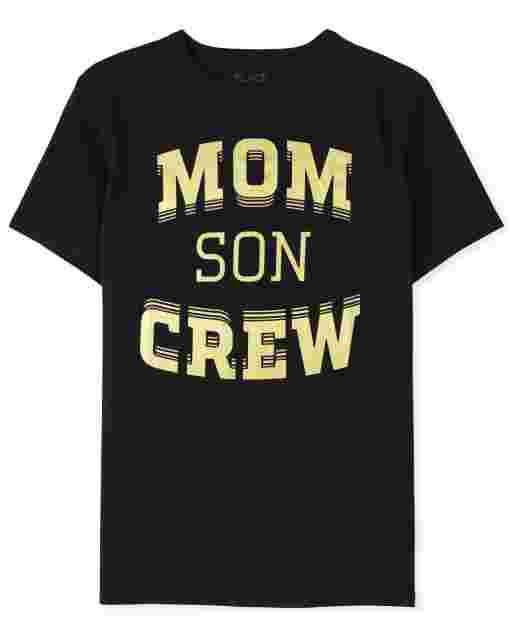 Camiseta con estampado familiar de manga corta ' Mom Son Crew '