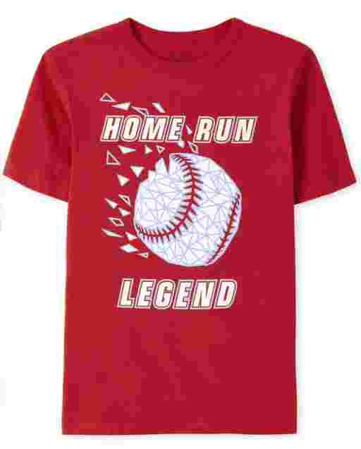 Boys Short Sleeve 'Home Run Legend' Baseball Graphic Tee